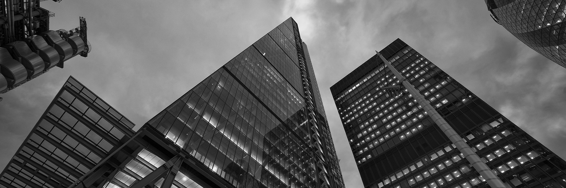 Panoramic black and white picture of City of London skyscrapers