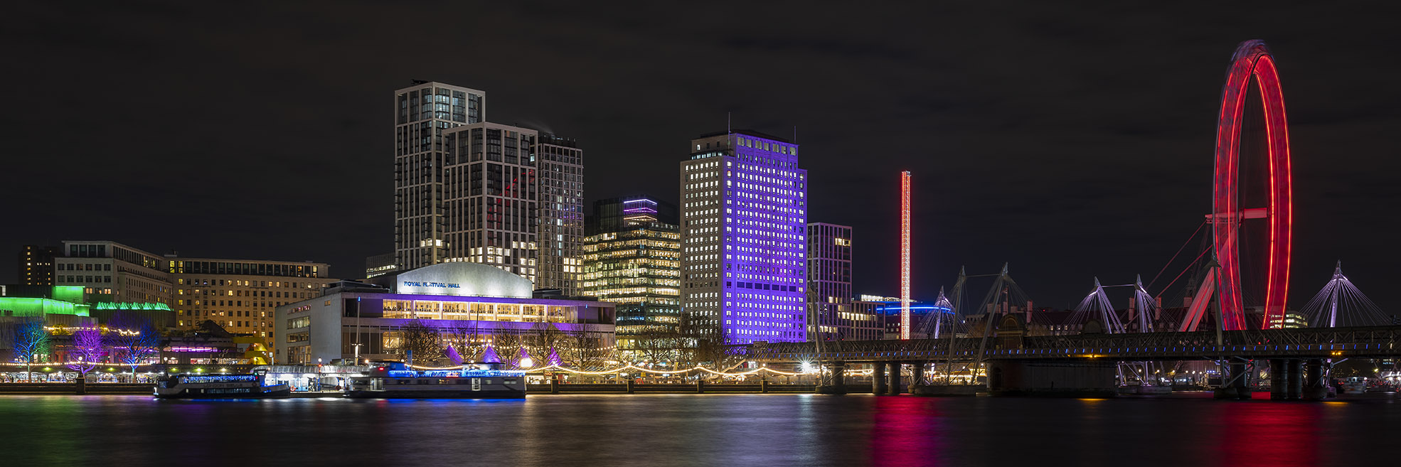 Panoramic image of London Skyline at night in glorious colour