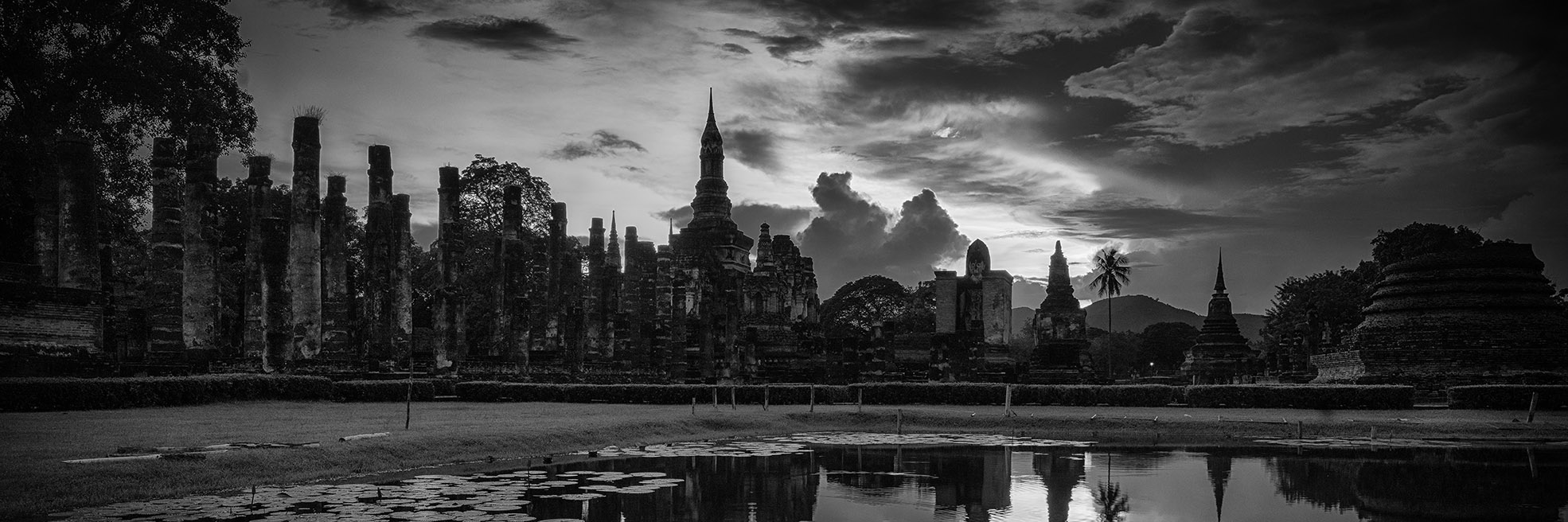 Panoramic image of Sukothai in Thailand in Black and White