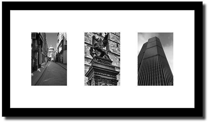 Framed photograph of City of London triptych as leaving present