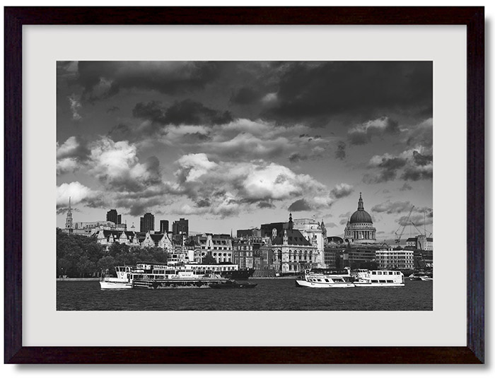 Framed photograph of City of London Skyline as leaving present