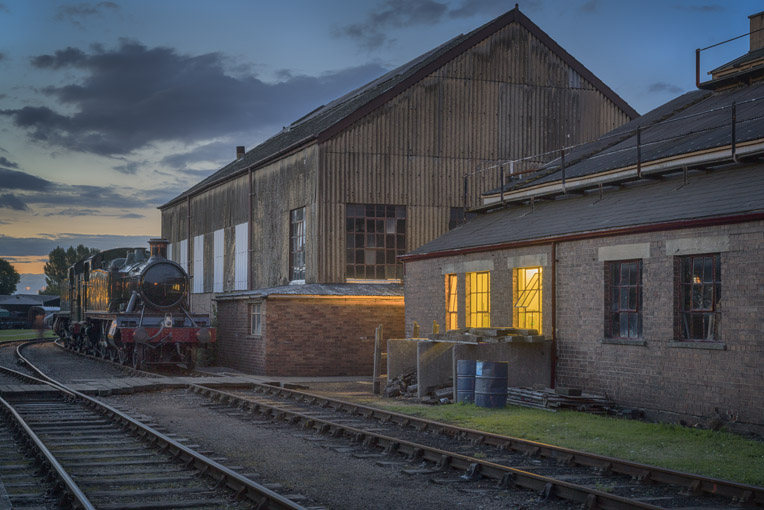 Outside the engine shed at dusk