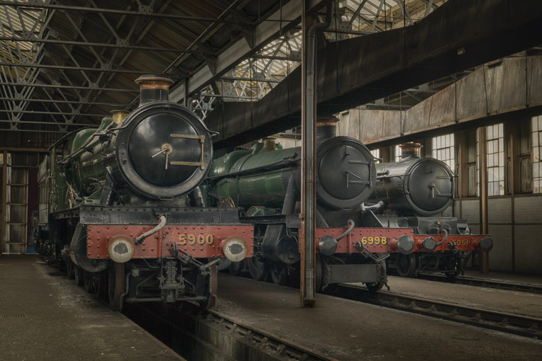 Locos inside the engine shed
