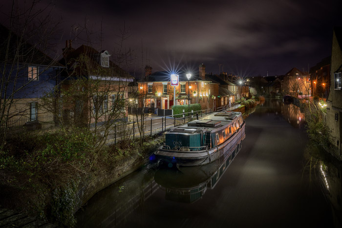 The Old Barge and River Lea in Hertford at night