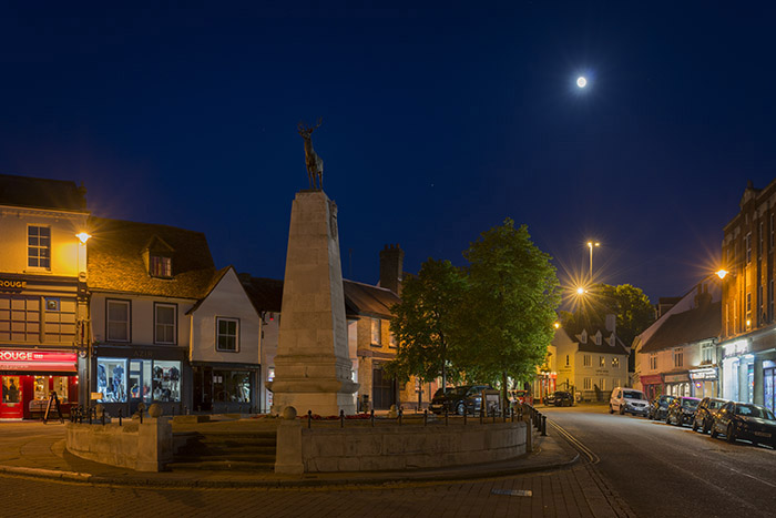 Moon over Parliament Square in Hertford