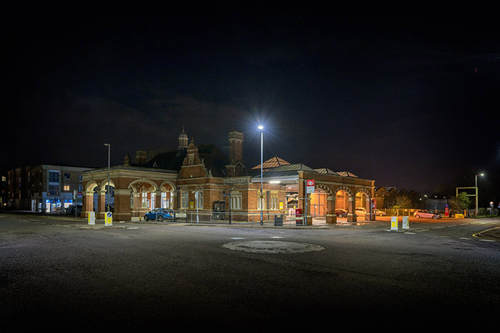 Hertford East Station at night