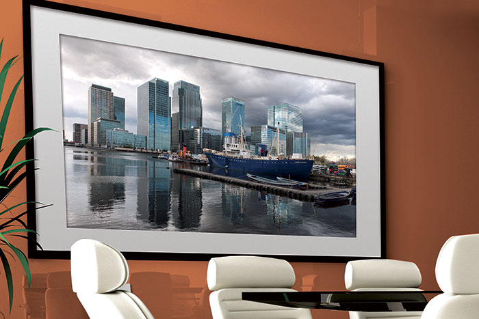 Print of Canary Wharf in a boardroom
