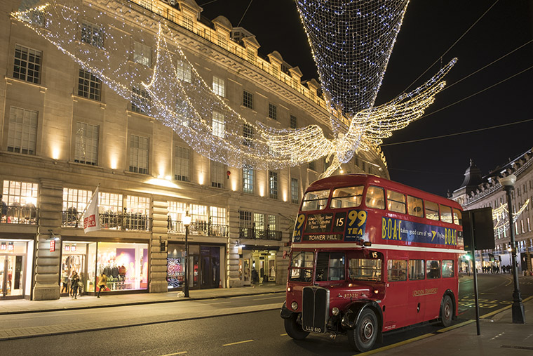Christmas Lights at Regent Street with Red London Bus