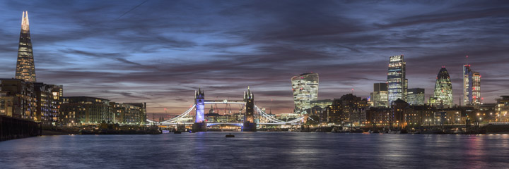Panoramic View of the London Skyline, 2015