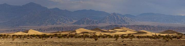 Panoramic view of Mesquite Dunes in California