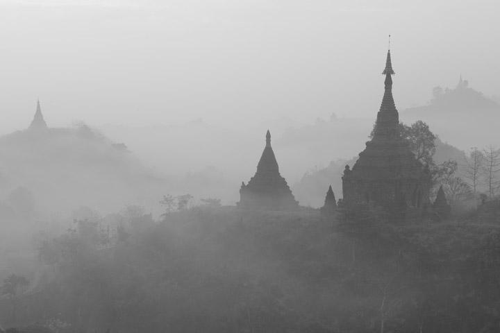 Temples in the mist in Mrauk U in Myanmar
