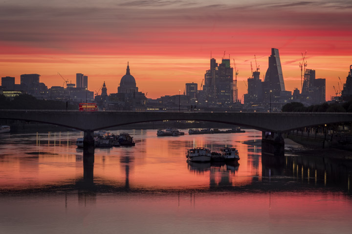 London Bus Sunrise Waterloo Bridge
