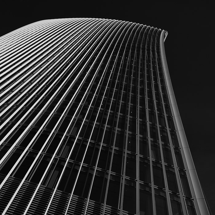 Black and white photographs of City of London skyscrapers