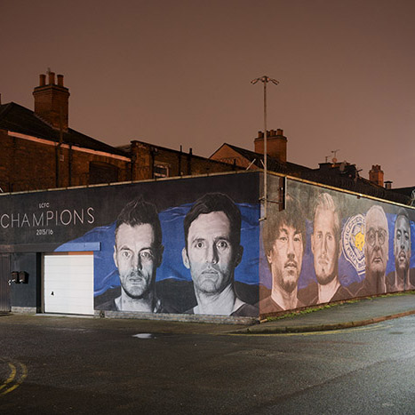 Mural of Leicester city Champions 2016