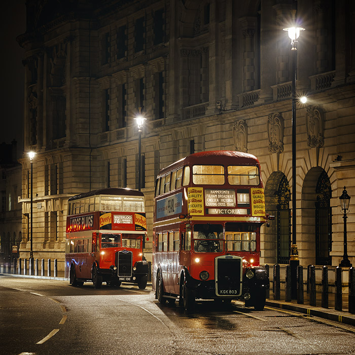 Vintage London Buses photographed at night