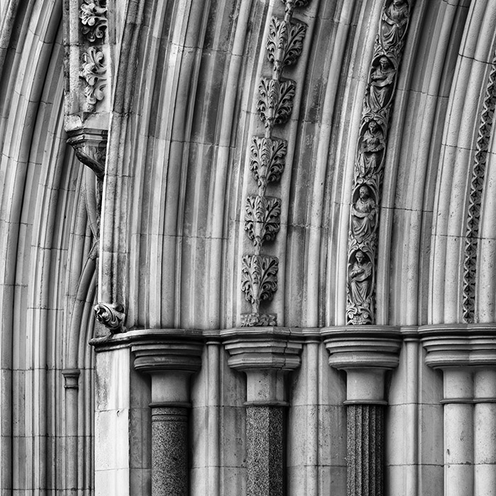 Architectural detail from a collection of photographs of the Royal Courts of Justice in London