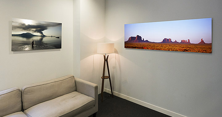 Acrylic prints on office wall