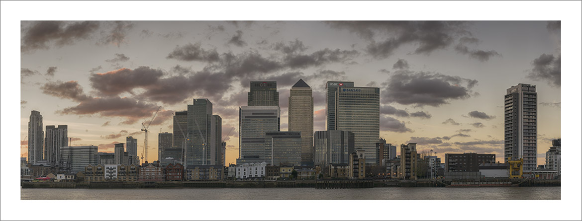 Art print of the London Cityscape at docklands,