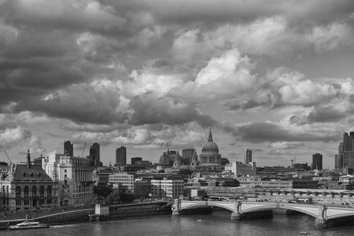 Black and white photograph of the London skyline at Blackfriars