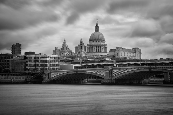 Black and white photograph of st Pauls Cathedral and Blackfriars Bridge