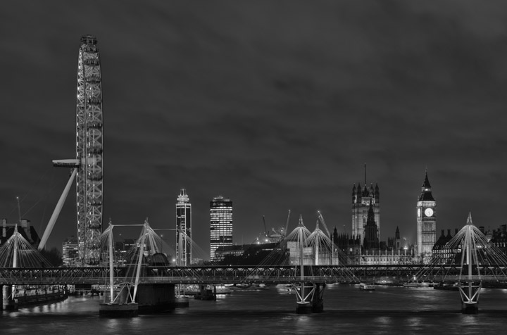 Black and white photo of Golden Jubilee Bridges