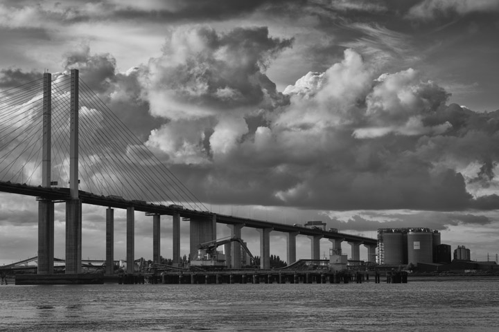 Black and white photo of Queen Elizabeth 2 Bridge