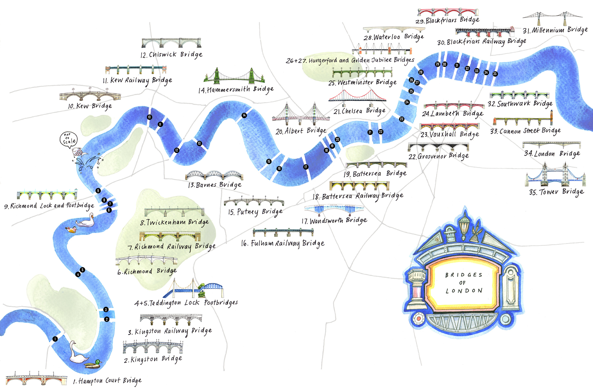 Bridges of London illustration by Lis Watkins