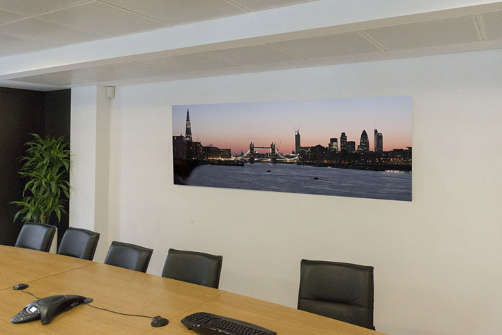 London panoramic photograph in the boardroom of Doherty Baines