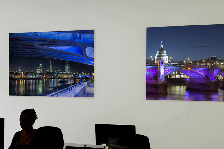 London skyline photos in the offices of Doherty Baines