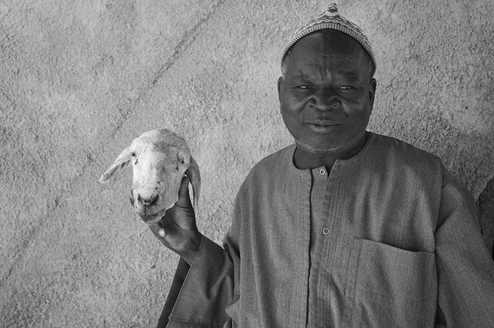 Fine art photograph of man and goat