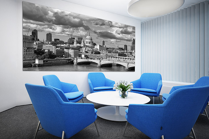 Giant panoramas of London in conference room
