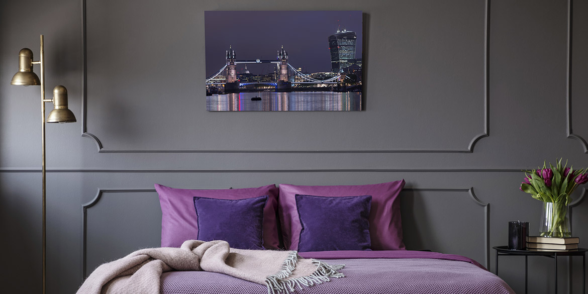 Purple Acrylic Print in hotel room