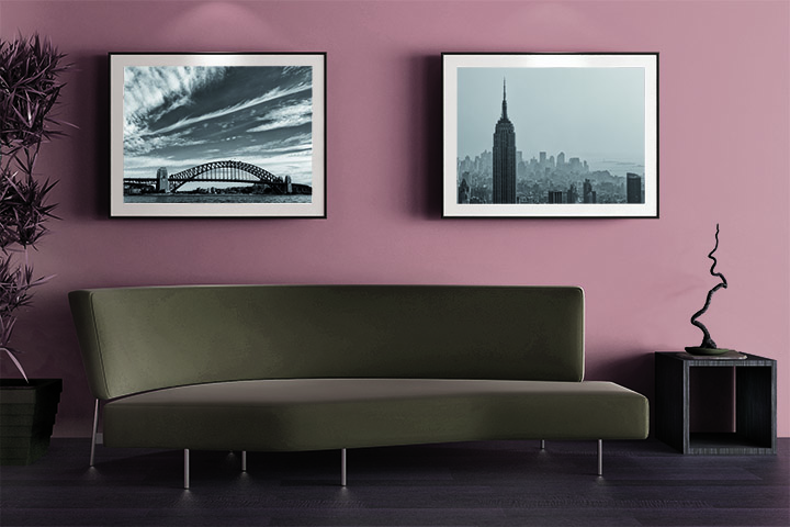 New York prints in Hotel sitting area