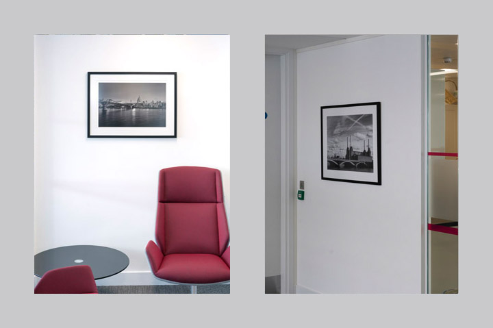 London black and white photos in the offices of Marathon Asset Management