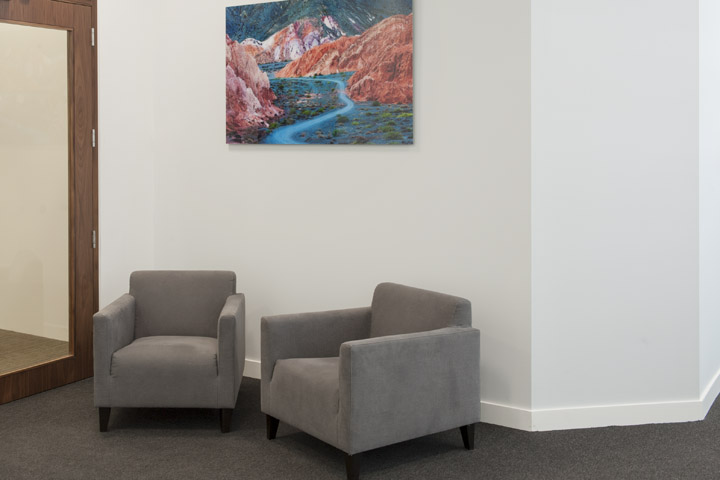 Acrylic panel of landscape photography as office art at JD Haspel