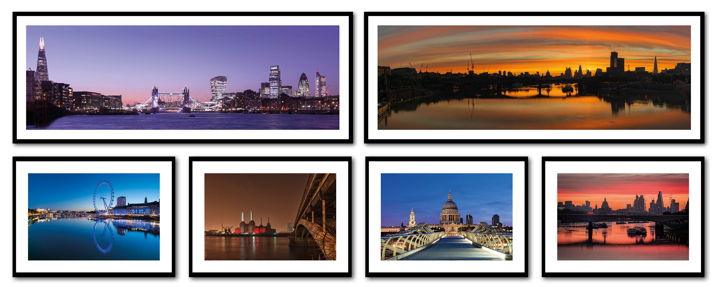 Brightly coloured London pictures on office wall