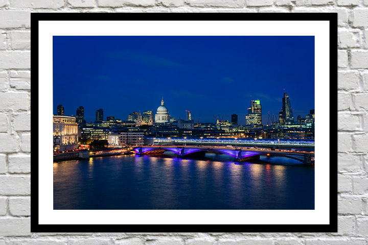 Retirement gift art print of blue london skyline