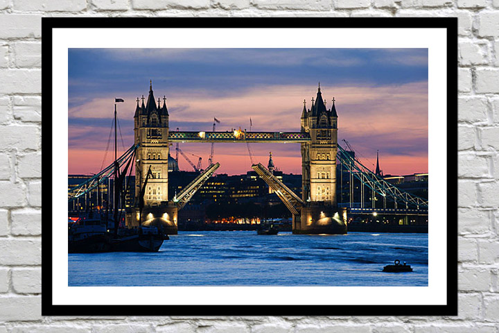 Retirement gift art colour print of tower bridge open