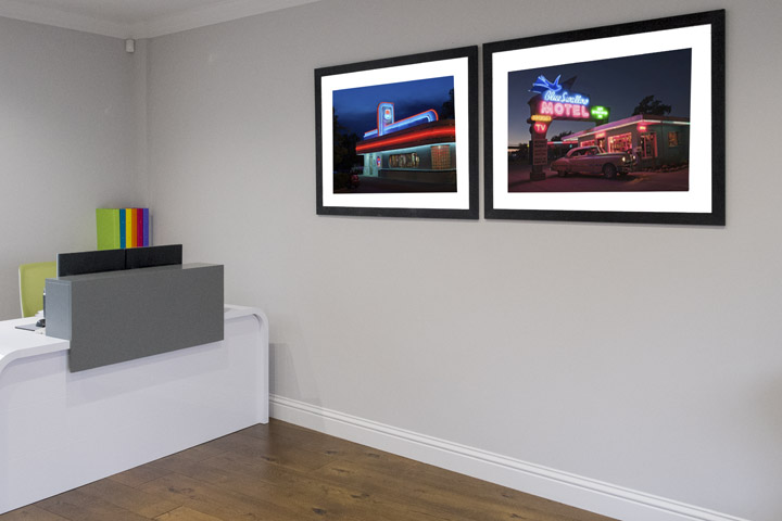 Route 66 photographs in reception of Townhouse Business Centre in Hertford