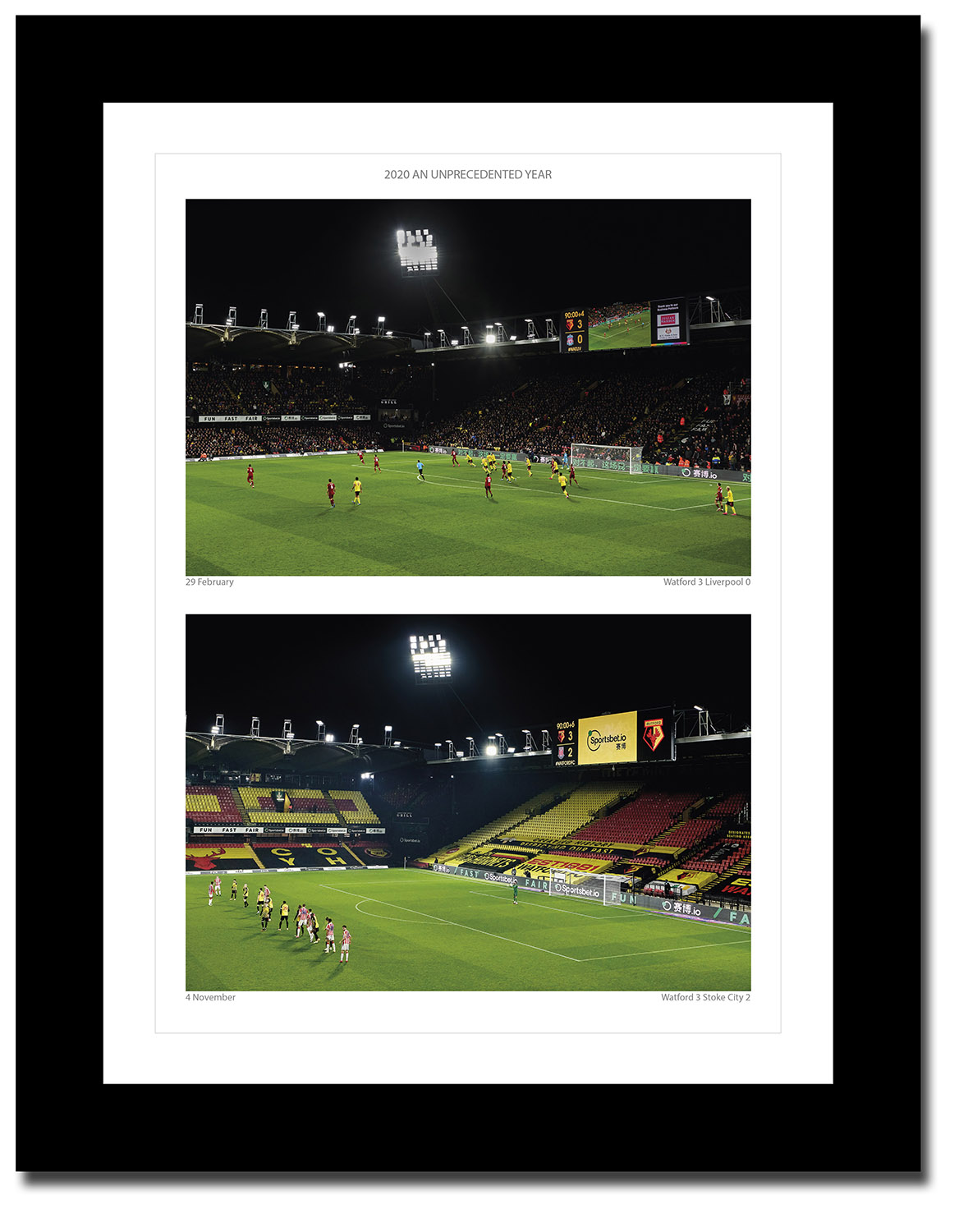 Framed print of Watford FC in the pandemic