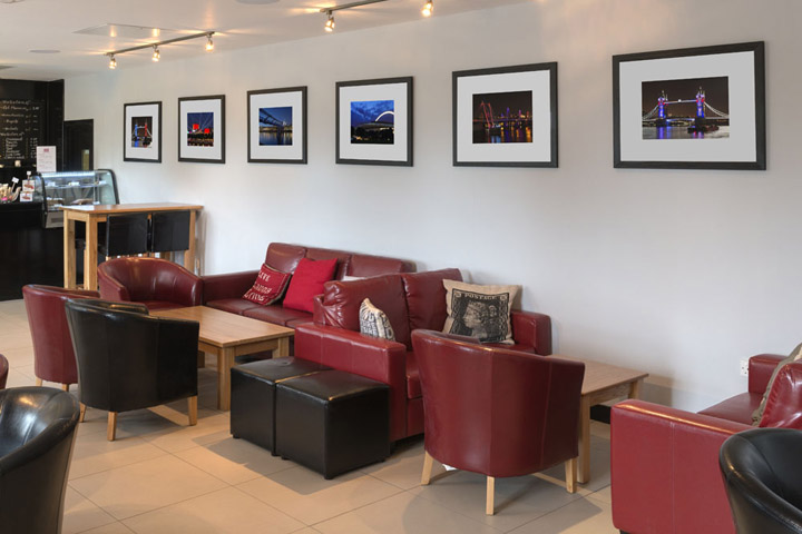 Photographs of London scenes as artwork for the restaurant at West London Golf Centre