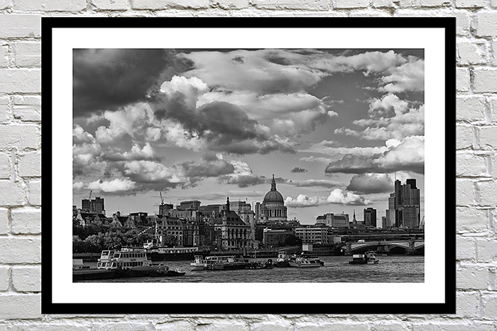 Framed black and white print of London as a gift
