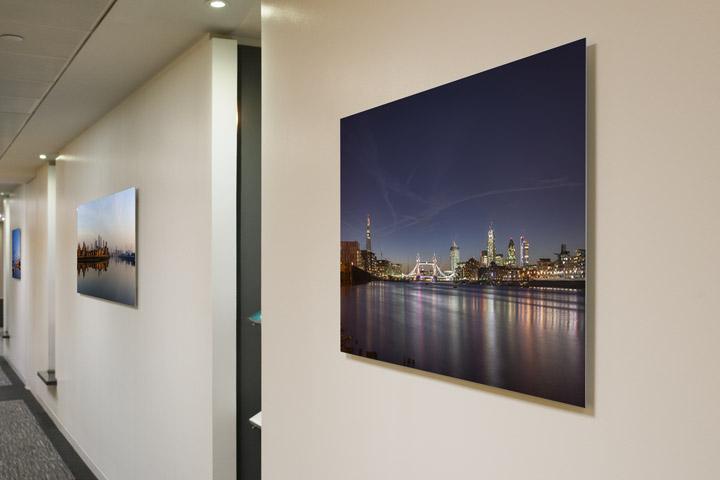London skyline acrylic print in corridor