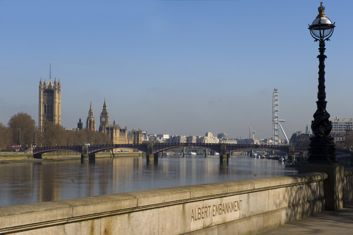 View from Albert Embankment including Houses of Parliament and Westminster Bridge