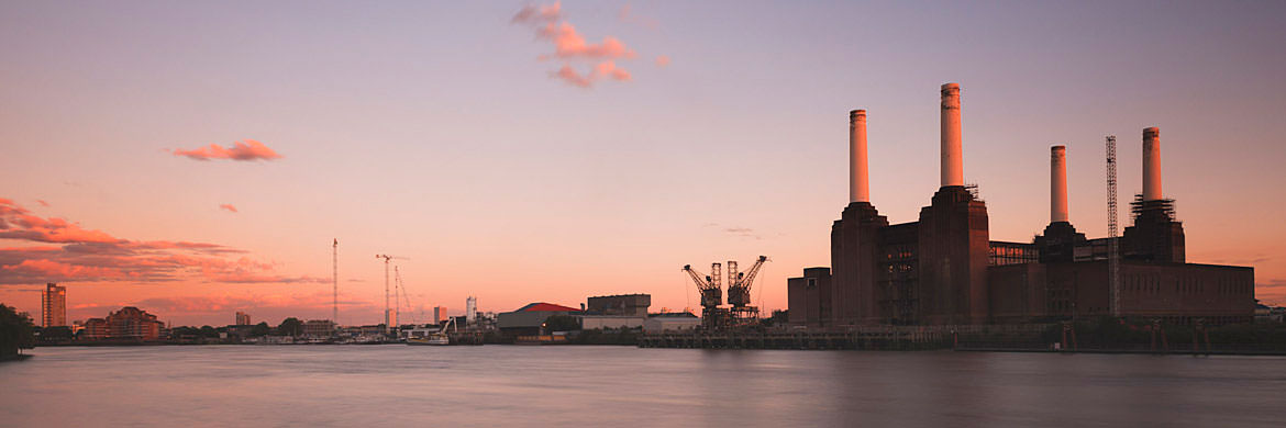 Panorama at dusk pink - skies over Battersea Power Station