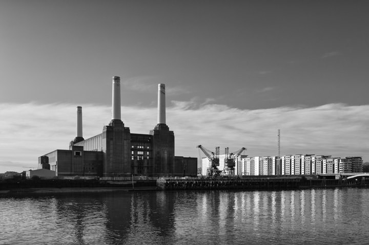 Battersea Power Station and River Thames in black and white