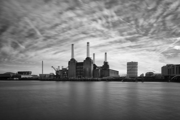 Long exposure photograph of Battersea Power Station under a mottled sky