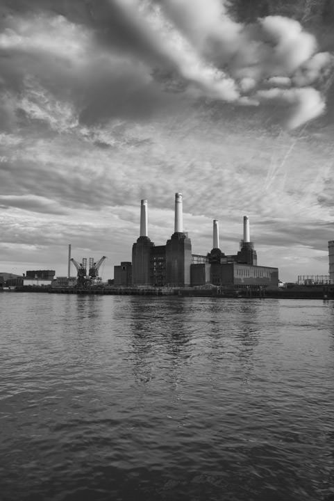 Dramatic photo of Battersea Power Station on cloudy day in black and white