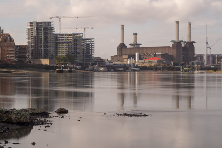 Battersea Power Station in urban London scene