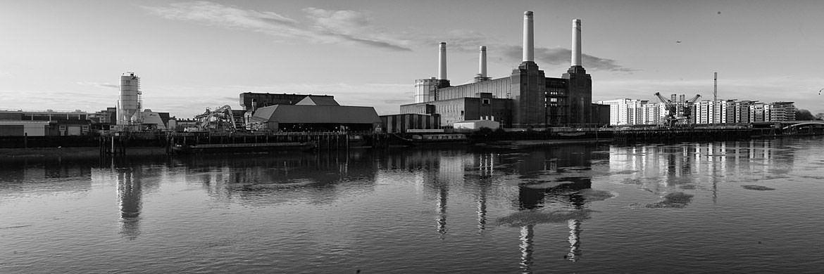 Black and White Panorama of Battersea Power Station reflected in the River Thames